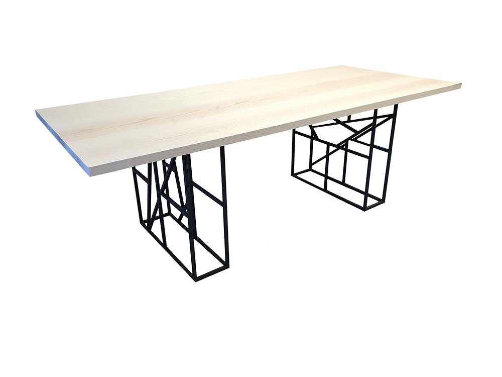 table à manger design plateau bois massif