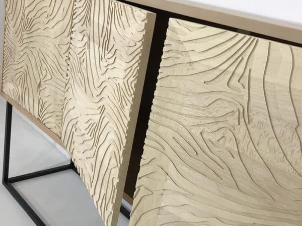 Buffet bois avec portes bois massif motif zèbre