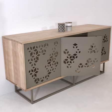 Buffet enfilade design en bois et métal
