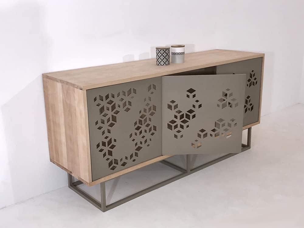 Buffet enfilade bois métal couleur anthracite