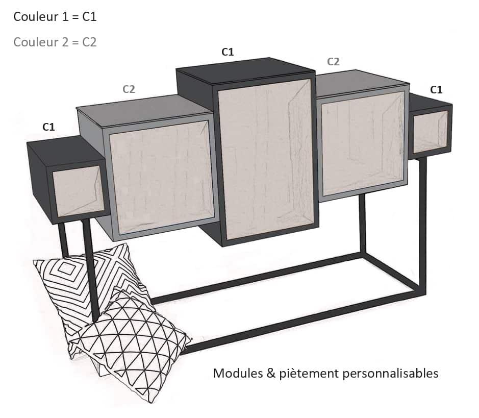 """Le meuble design de style déstructuré """"Nana"""" ."""