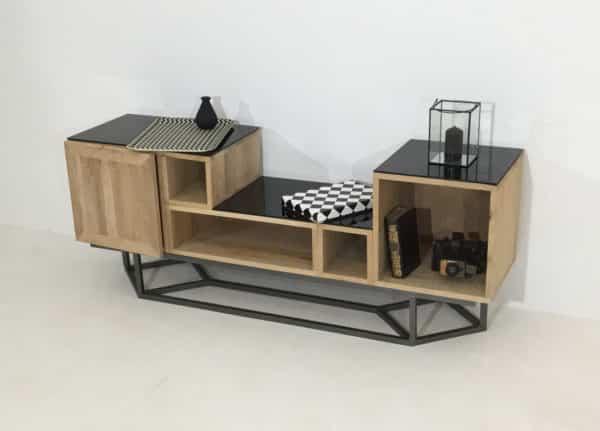 """meuble modulaire déstructuré """"Filae"""" en bois et métal"""