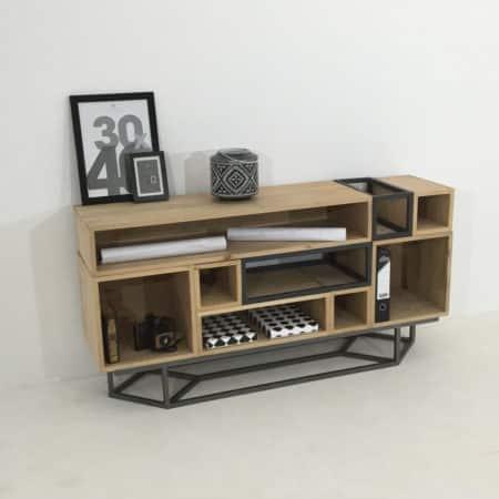 Meuble bois et métal sur-mesure, 7 modules en bois massif et 2 en métal