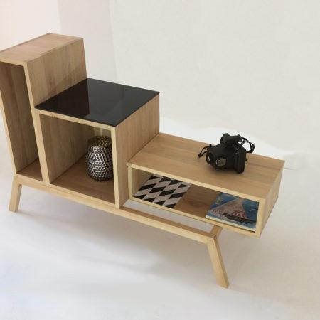 meuble déstructuré en bois massif doté de 3 modules