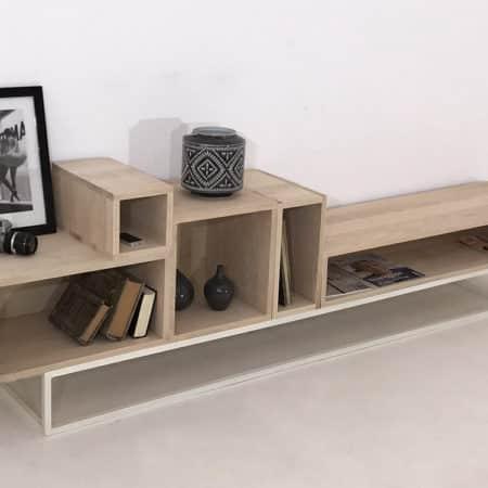 meuble TV avec rangement composé de 5 modules bois massif