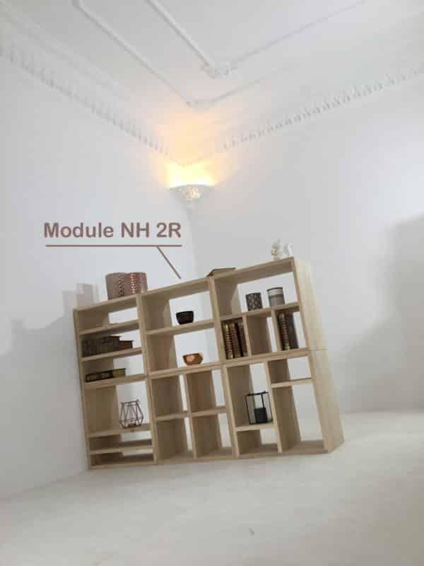 Module bois massif, référence NH2R, avec étagère pour bibliothèque modulable