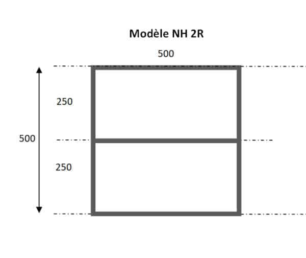 Module bois massif portant la référence NH2R destiné à composer une bibliothèque étagère modulable