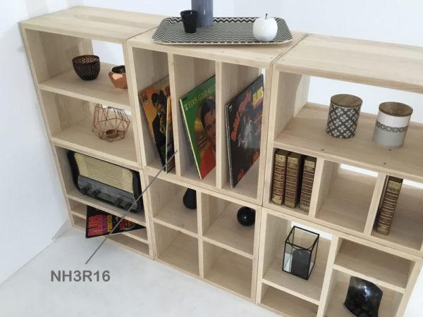 Ici, le module NH3R16 est positionné verticalement et s'adapte au design souhaité pour la bibliothèque sur-mesure