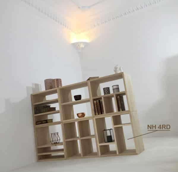 Module NH4RD personnalisable, pour bibliothèque design en bois.