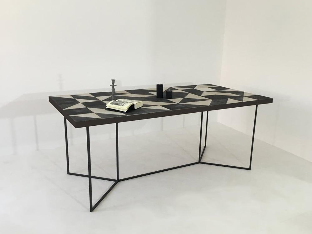 Table repas à manger sur-mesure en carreaux de ciment artisanaux