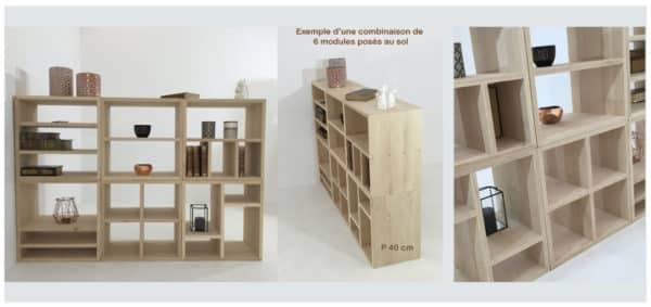 bibliothèques modulables bois massif composées de modules personnalisables