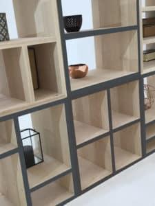 bibliothèque modulable en bois massif avec les chants laqués