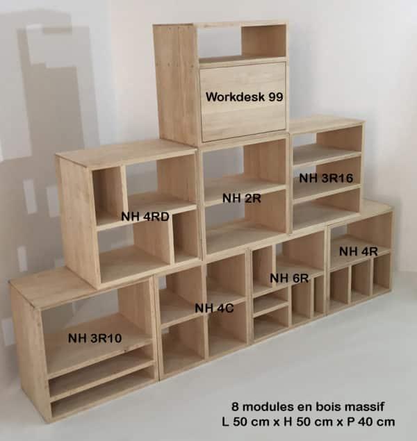Bibliothèque modulable composée de modules bois massif avec étagères, à assembler en fonction des besoins de chacun.