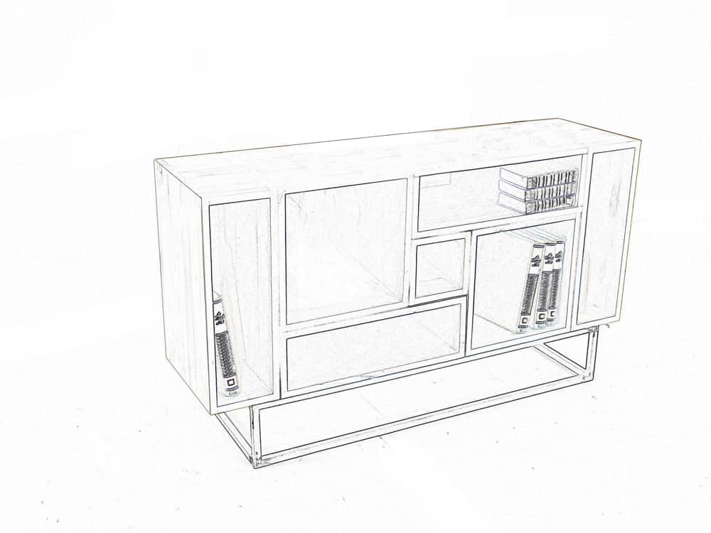 """Schéma du meuble de rangement """"Seven"""" sur-mesure ou personnalisable"""