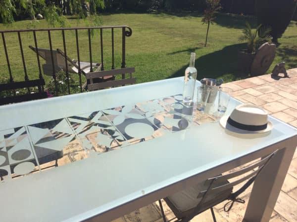 Plateau de table en verre sablé