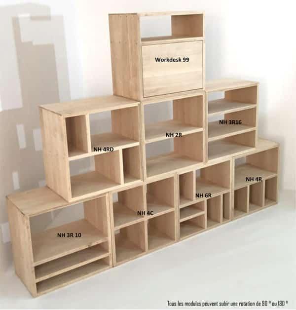Modules d'agencement bois clair pour meubles sur-mesure