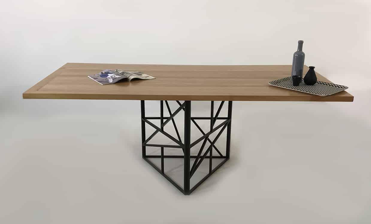 Table repas à manger bois massif et métal sur-mesure