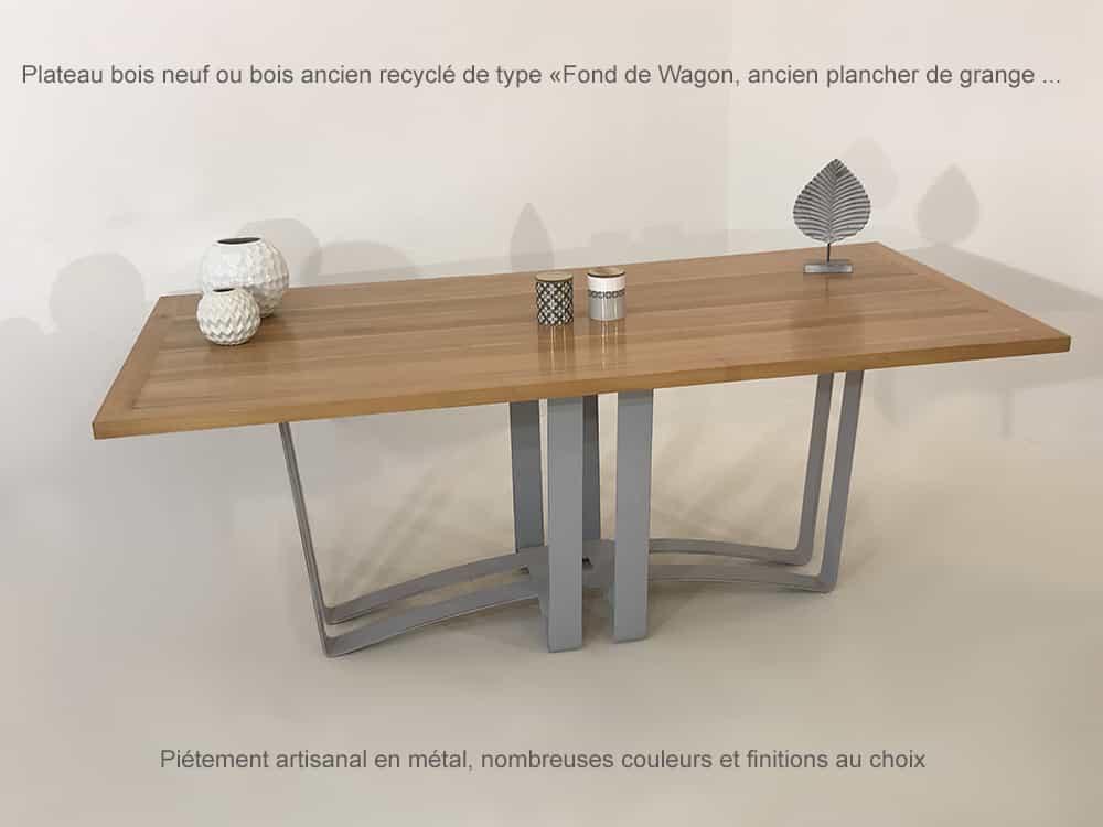 Table à manger design artisanale sur-mesure ou personnalisable avec plateau bois massif