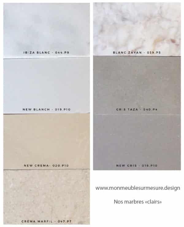 Marbres au choix de couleurs claires