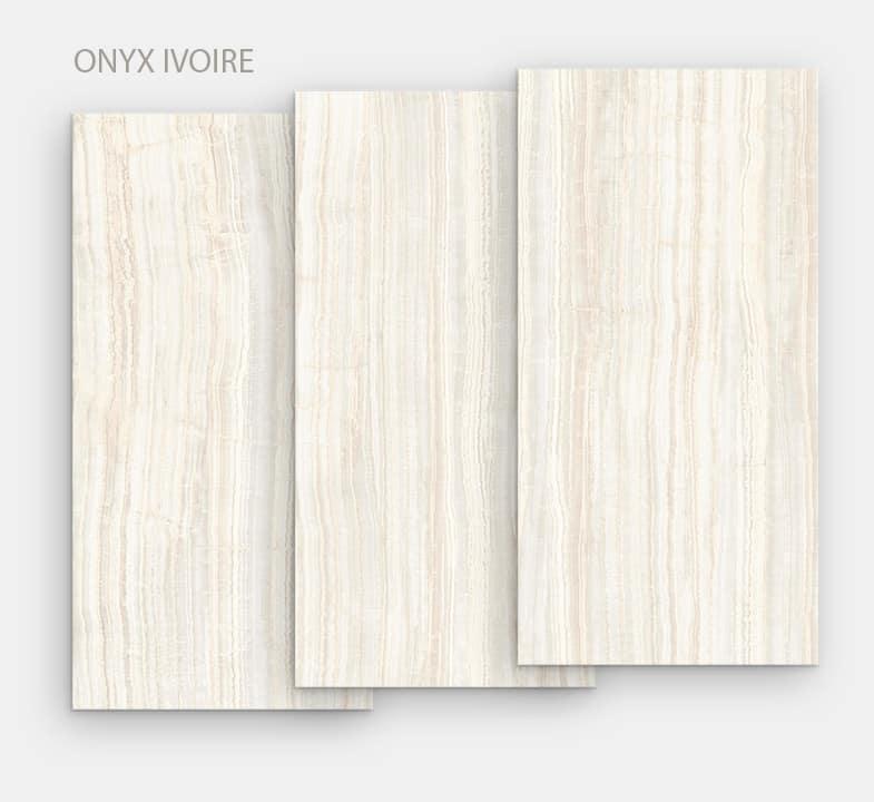"""Céramique """"Onyx Ivoire"""" pour table repas de salle à manger ou d'extérieur."""