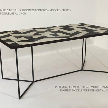 Carreaux de ciment de forme hexagonale utilisés pour la fabrication des plateaux de nos tables repas