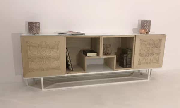 Buffet bois et blanc avec 4 modules en bois et plateau en verre