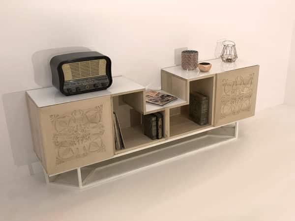 """meuble de rangement design avec portes en bois massif et modules en forme de """"L"""" également en bois massif."""