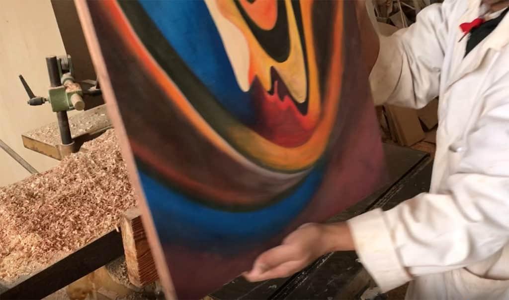Porte peinte à la main du meuble