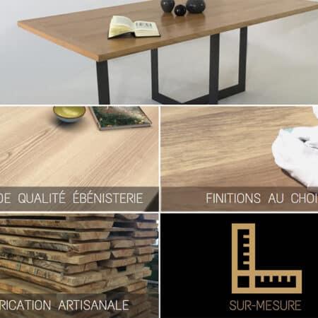 Table de salle à manger bois massif et métal, sur mesure