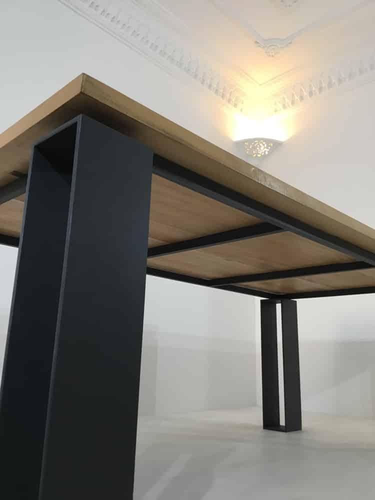 table repas de salle a manger bois metal