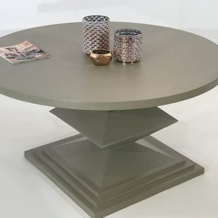 Table repas ronde avec piétement en métal laqué de couleur taupe et plateau également en métal laqué