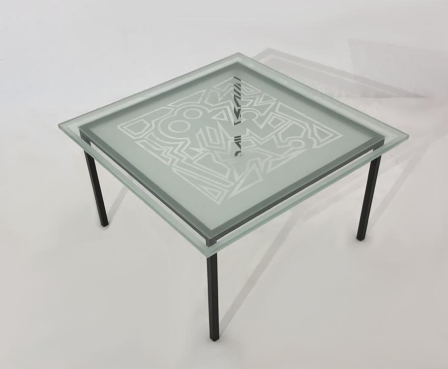 table repas carree plateau verre trempe et sable art deco 8
