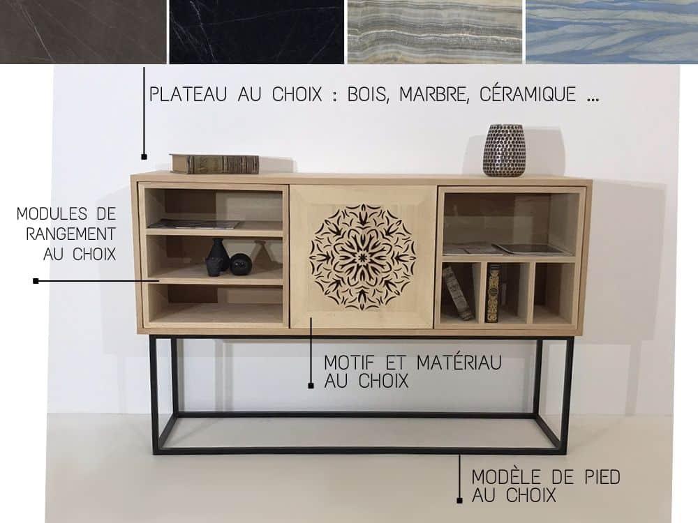 Votre buffet bois sur-mesure avec matériau, motifs et finitions au choix