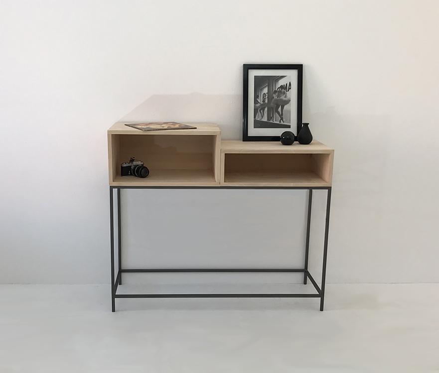 console d'entrée en bois et métal avec 2 modules de rangement