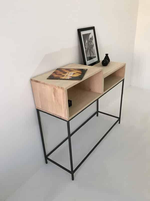 console d'entrée bois métal vue de profil