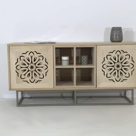 meuble bois massif avec portes ajourées