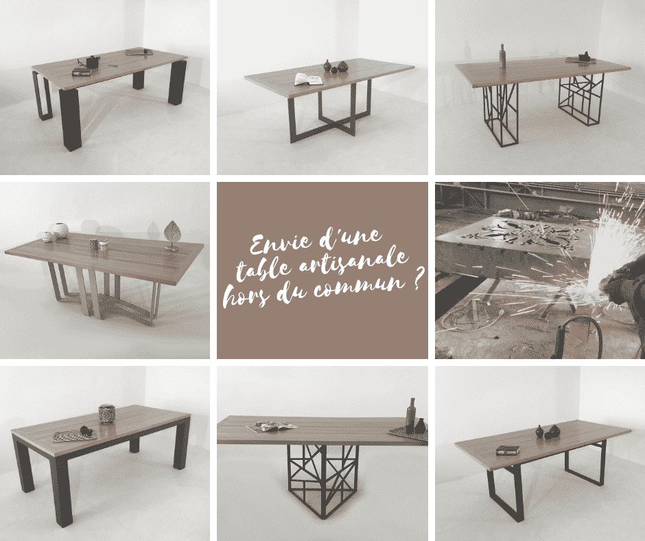 Tables repas avec plateau bois ou métal, sur-mesure ou personnalisable, de fabrication artisanale.
