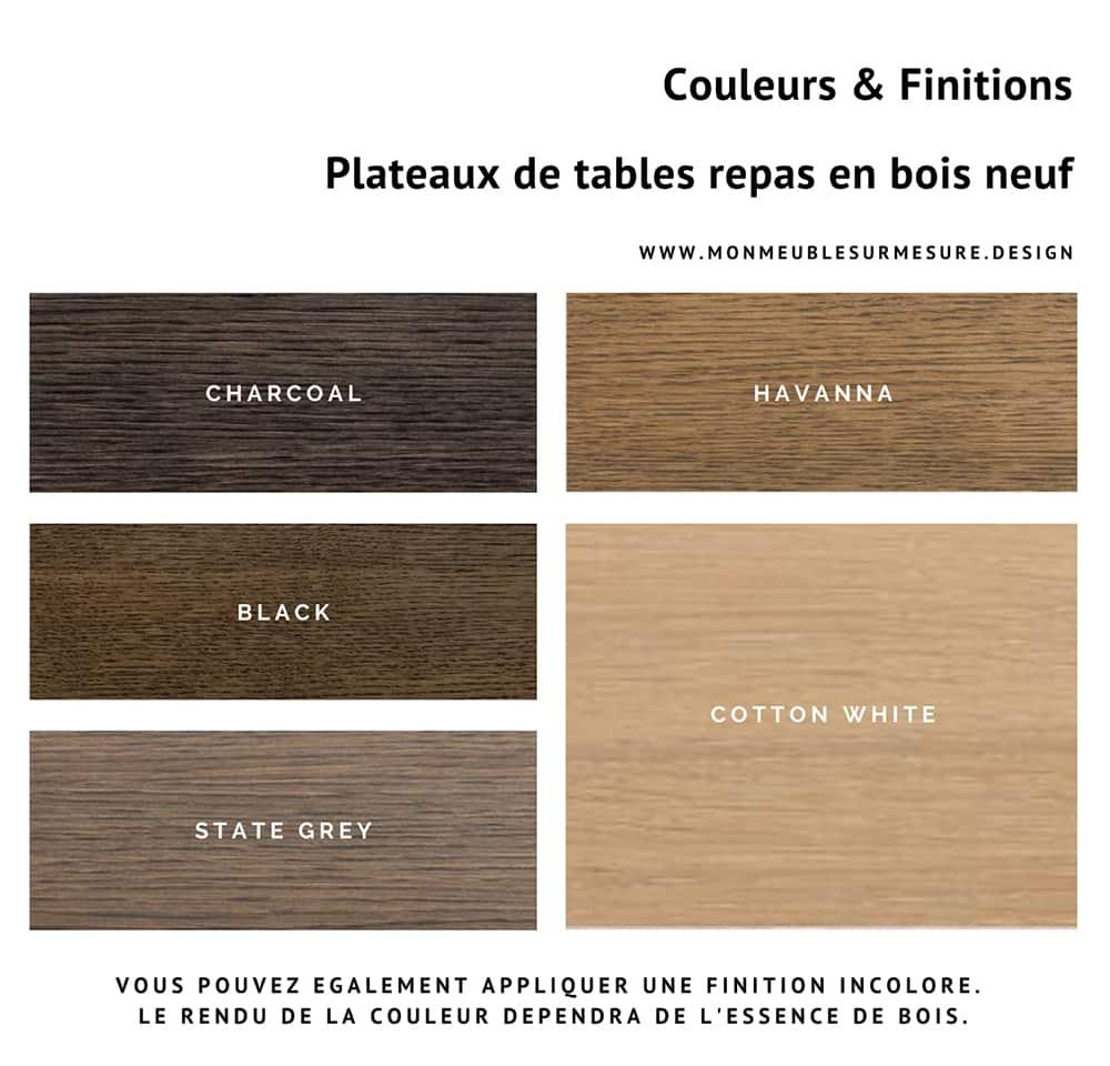 Table à manger bois massif sur-mesure avec plateau en bois neuf