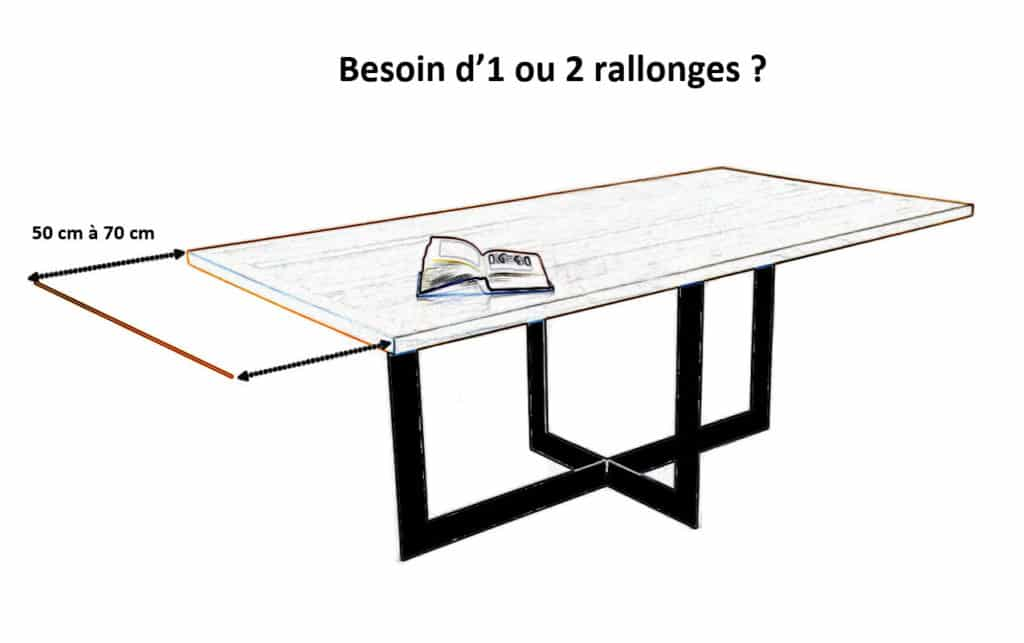 Table à manger industrielle bois massif et métal avec rallonges