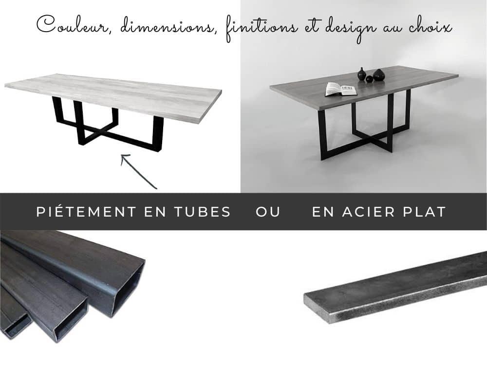 Table de style industriel, sur mesure ou personnalisable