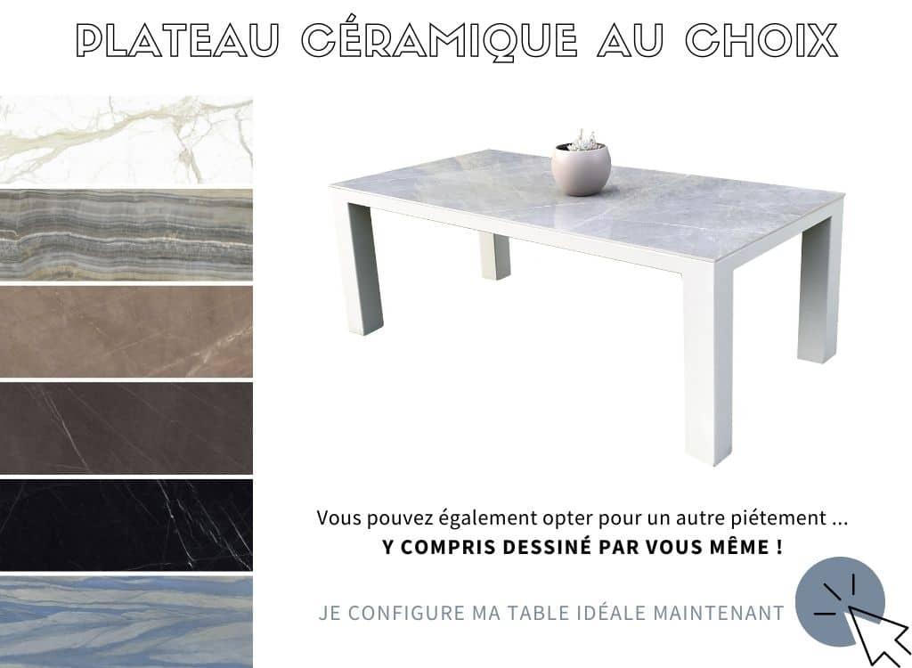 Table à manger extensible avec plateau céramique et pied en fer