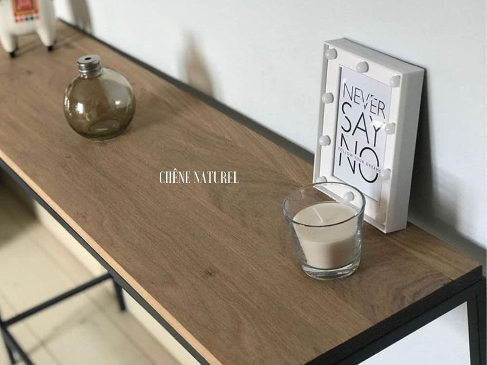 console meuble sur mesure en chêne naturel et métal