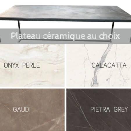 table basse métal et céramique, sur-mesure