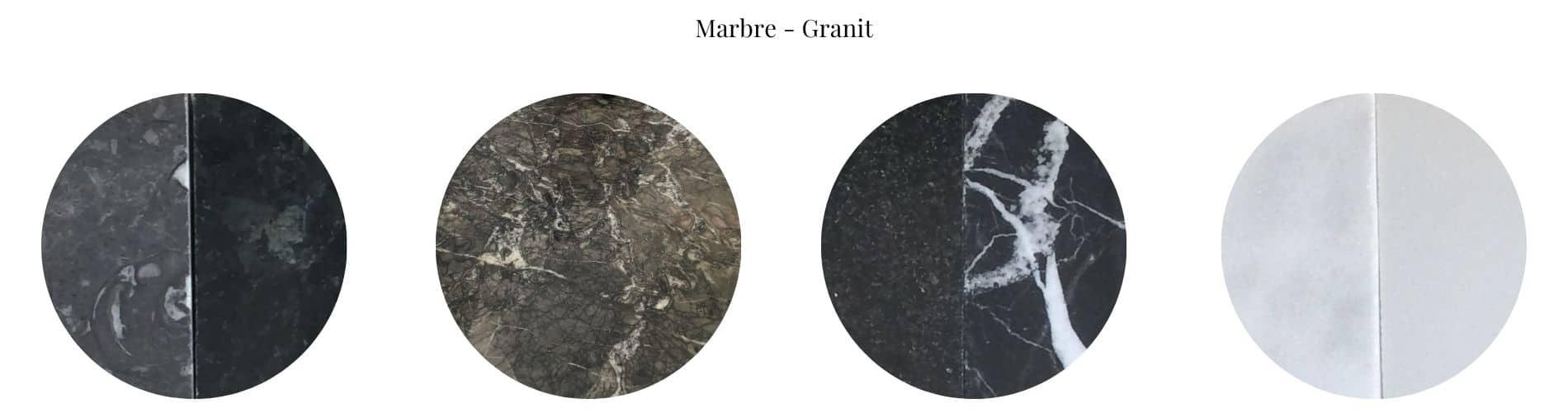 Table en marbre avec plateau rond sur-mesure
