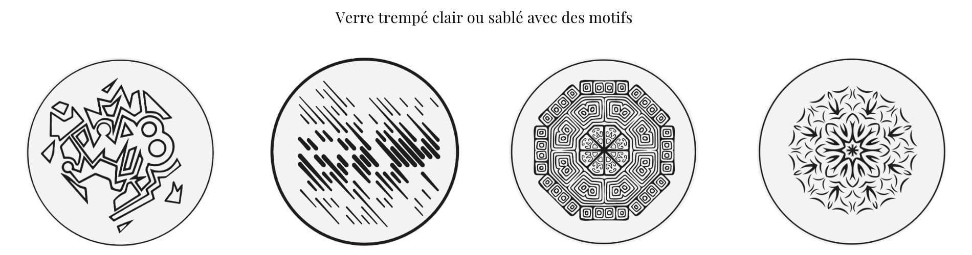 Table ronde avec plateau sur-mesure en verre trempé et sablé de motifs