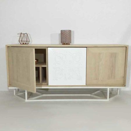 Meuble bois et blanc, haut de gamme, de fabrication artisanale. Sur-mesure possible.