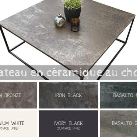 table basse carree blanche, noire avec plateau céramique et pied en métal