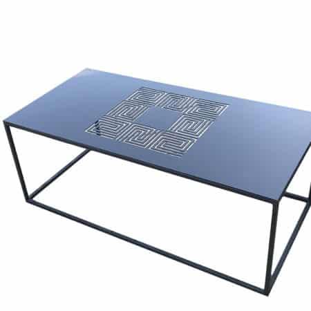 table basse de salon avec plateau en métal, acier laqué ajouré