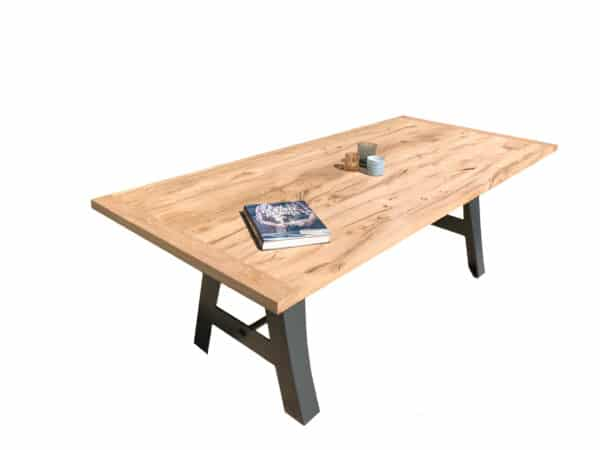 Table chêne massif et métal, fabrication artisanale