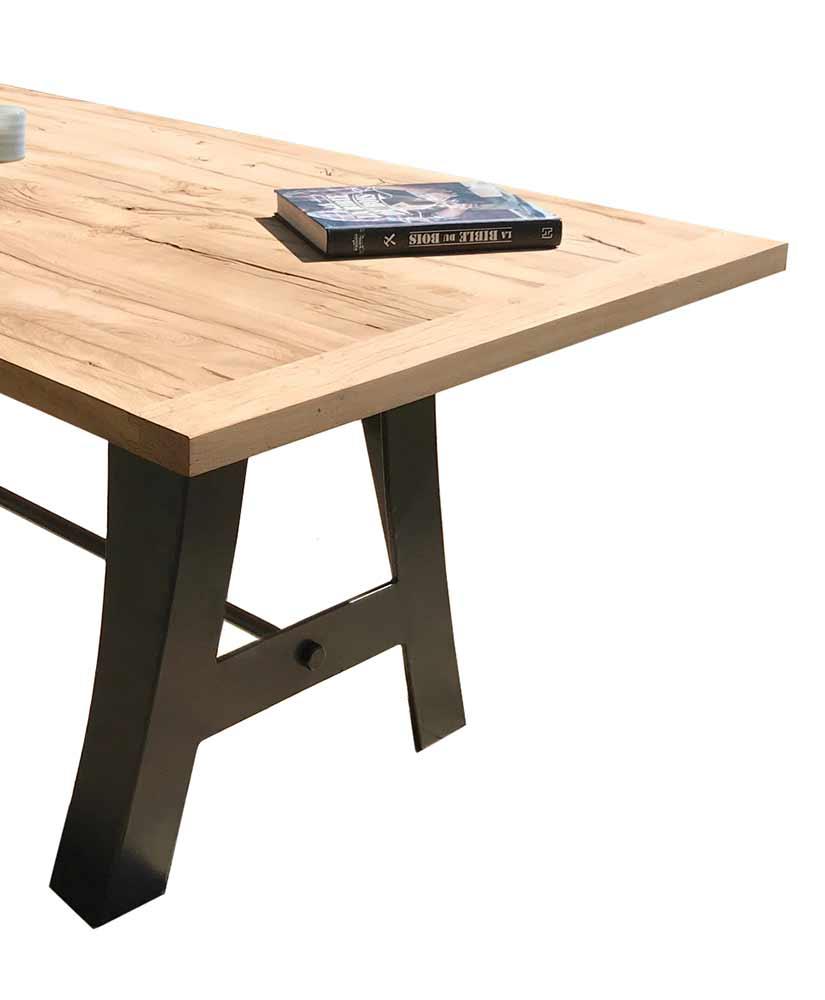 Table chêne massif avec pied de table métal original